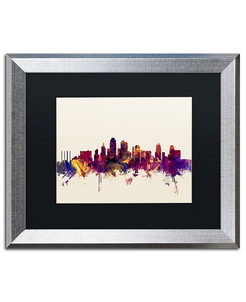 "Trademark Global Michael Tompsett 'Kansas City Skyline' Matted Framed Art - 16"" x 20"""