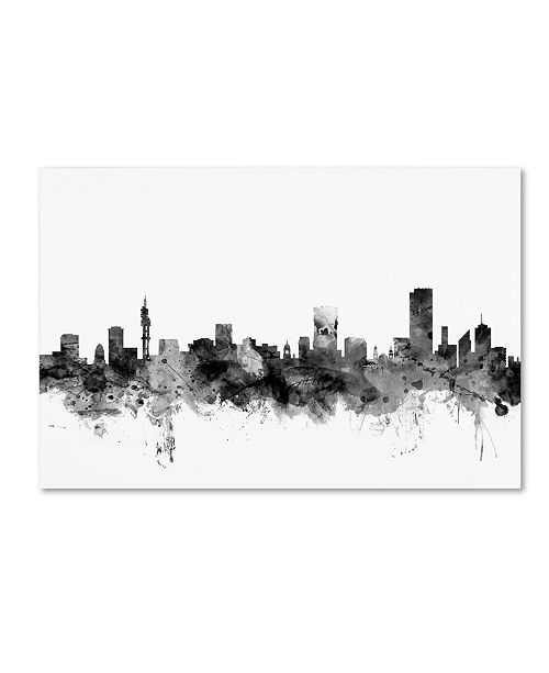 "Trademark Global Michael Tompsett 'Pretoria S. Africa Skyline B&W' Canvas Art - 16"" x 24"""