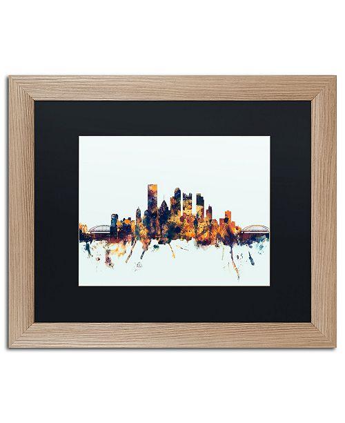 """Trademark Global Michael Tompsett 'Pittsburgh PA Skyline Blue' Matted Framed Art - 16"""" x 20"""""""