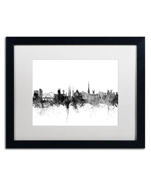"Trademark Global Michael Tompsett 'Newcastle England Skyline B&W' Matted Framed Art - 16"" x 20"""