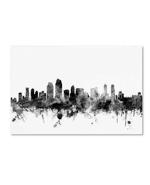 "Trademark Global Michael Tompsett 'San Diego CA Skyline B&W' Canvas Art - 16"" x 24"""