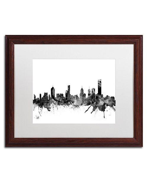 """Trademark Global Michael Tompsett 'Melbourne Skyline B&W' Matted Framed Art - 16"""" x 20"""""""