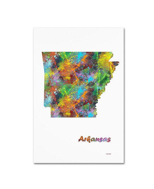 "Trademark Global Marlene Watson 'Arkansas State Map-1' Canvas Art - 16"" x 24"""