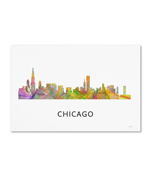 "Trademark Global Marlene Watson 'Chicago Illinois Skyline WB-1' Canvas Art - 16"" x 24"""