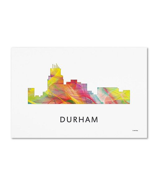 "Trademark Global Marlene Watson 'Durham North Carolina Skyline WB-1' Canvas Art - 16"" x 24"""
