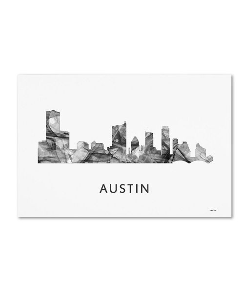 "Trademark Global Marlene Watson 'Austin Texas Skyline WB-BW' Canvas Art - 16"" x 24"""