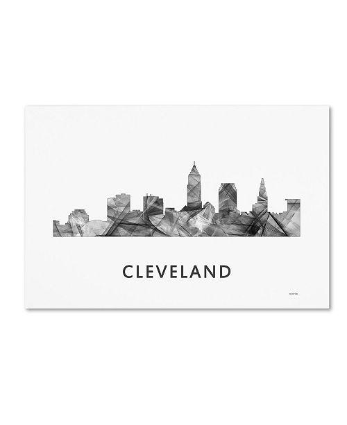 "Trademark Global Marlene Watson 'Cleveland Ohio Skyline WB-BW' Canvas Art - 16"" x 24"""