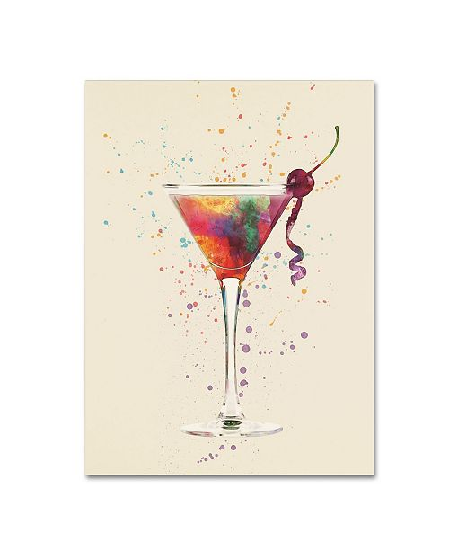 "Trademark Global Michael Tompsett 'Cocktail Drinks Glass Watercolor V' Canvas Art - 18"" x 24"""