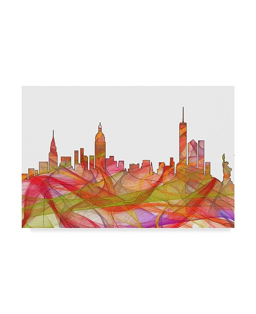 "Trademark Global Marlene Watson 'New York NY Swirl' Canvas Art - 16"" x 24"""