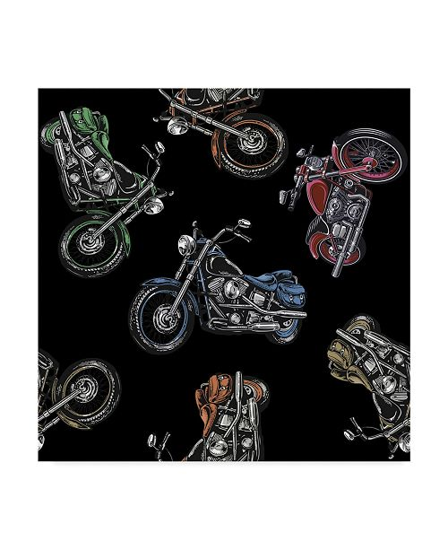 """Trademark Global Jean Plout 'Motorcycle Travel Black' Canvas Art - 18"""" x 18"""""""