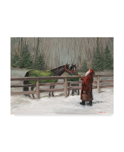 """Trademark Global Mary Miller Veazie 'Santa With Horses' Canvas Art - 18"""" x 24"""""""