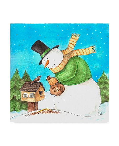 "Trademark Global Melinda Hipsher 'Snowman Green Bird' Canvas Art - 18"" x 18"""
