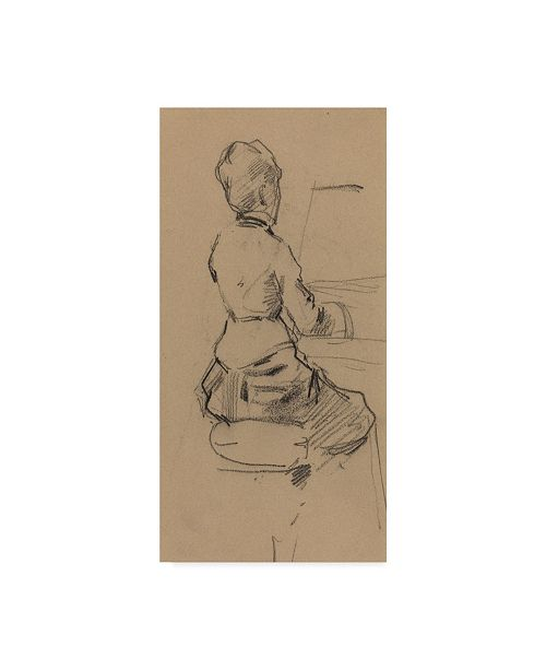 """Trademark Global Jean Louis Forain 'Young Woman Seated At A Piano' Canvas Art - 24"""" x 12"""""""
