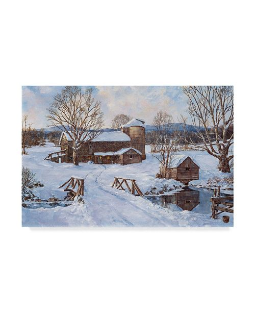 "Trademark Global Jack Wemp 'Spring House By The Bridge' Canvas Art - 19"" x 12"""