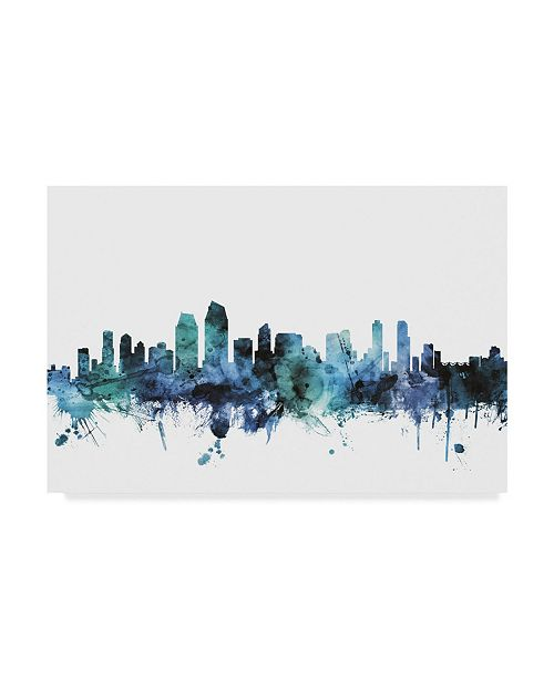 "Trademark Global Michael Tompsett 'San Diego California Blue Teal Skyline' Canvas Art - 19"" x 12"""
