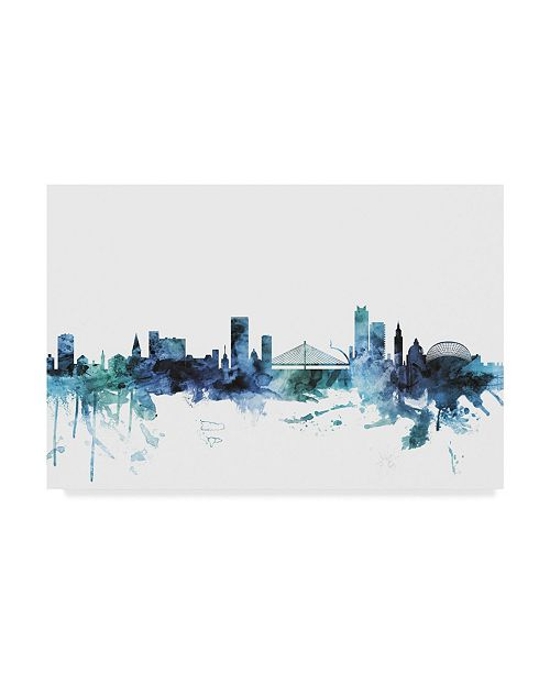 "Trademark Global Michael Tompsett 'Liege Belgium Blue Teal Skyline' Canvas Art - 19"" x 12"""