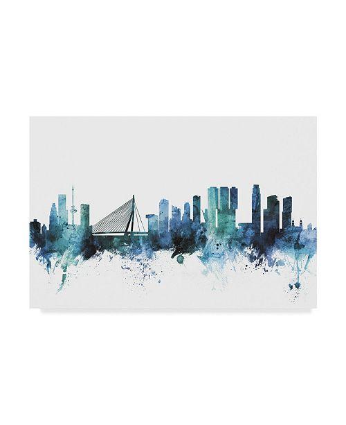 "Trademark Global Michael Tompsett 'Rotterdam Blue Teal Skyline' Canvas Art - 19"" x 12"""