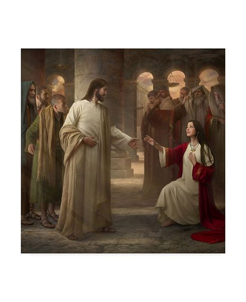 """Trademark Global Howard Lyon 'Though Your Sins Be As Scarlet' Canvas Art - 14"""" x 14"""""""