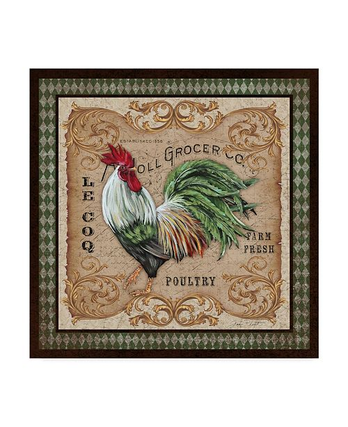 "Trademark Global Jean Plout 'Old World Rooster 3' Canvas Art - 18"" x 18"""