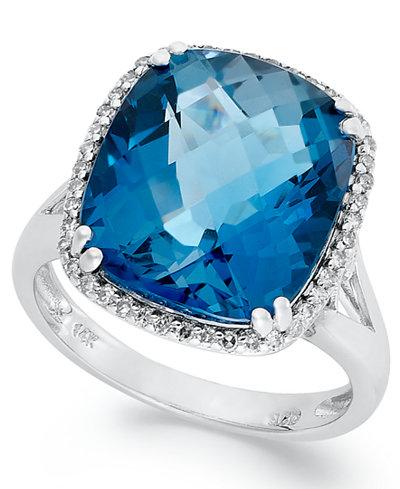 14k White Gold Ring, Cushion-Cut London Blue Topaz (9-3/8 ct. t.w.) and Diamond (1/5 ct. t.w.) Ring