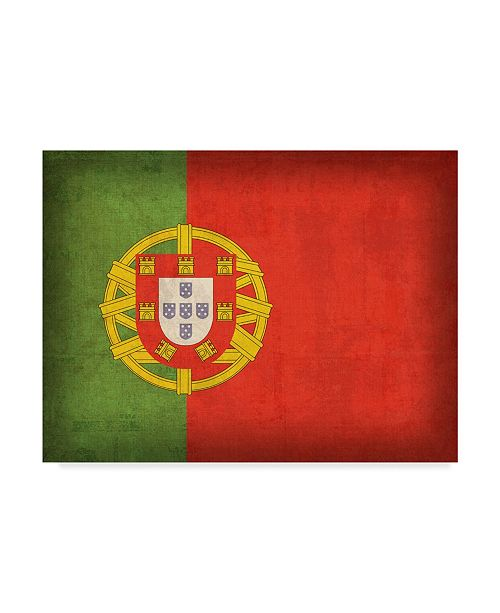 "Trademark Global Red Atlas Designs 'Portugal Distressed Flag' Canvas Art - 19"" x 14"""