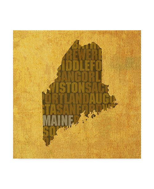 """Trademark Global Red Atlas Designs 'Maine State Words' Canvas Art - 14"""" x 14"""""""