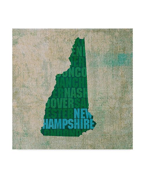 "Trademark Global Red Atlas Designs 'New Hampshire State Words' Canvas Art - 14"" x 14"""