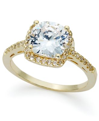 18k Gold over Sterling Silver Ring, Cushion-Cut Cubic Zirconia Ring (3-