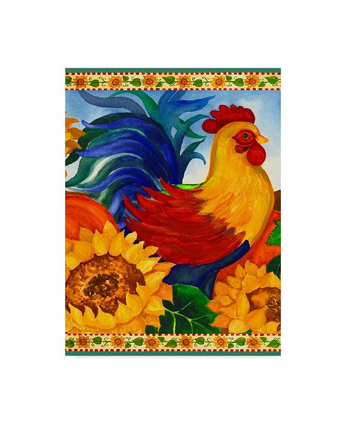 """Trademark Global Laurie Korsgaden 'Colorful Rooster Centered' Canvas Art - 14"""" x 19"""""""