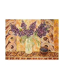"Lorraine Platt 'Blueberries And Scented English Stock' Canvas Art - 24"" x 18"""