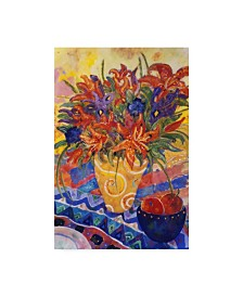 "Lorraine Platt 'Tiger Lilies And Irises' Canvas Art - 12"" x 19"""