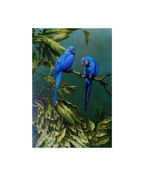 "Trademark Global Michael Jackson 'Two Blue Macaws' Canvas Art - 22"" x 32"""
