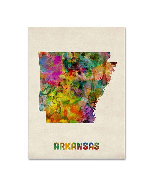 "Trademark Global Michael Tompsett 'Arkansas Map' Canvas Art - 19"" x 14"""