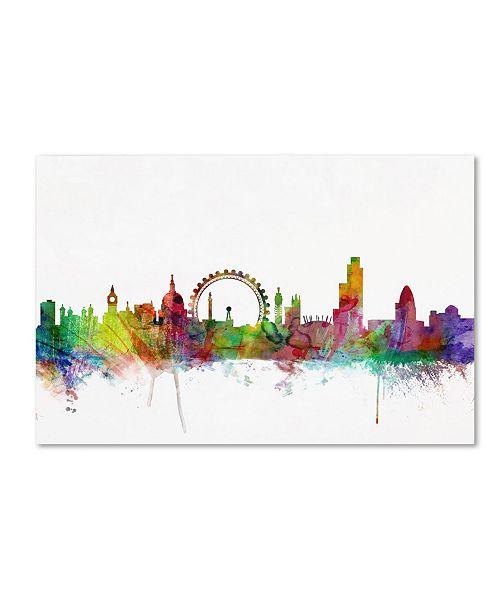 "Trademark Global Michael Tompsett 'London England Skyline V' Canvas Art - 19"" x 12"""