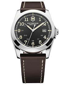 Victorinox Swiss Army Watch, Men's Infantry Brown Leather Strap 40mm 241563
