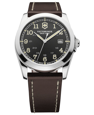 Victorinox Swiss Army Watch, Men's Infantry Brown Leather ...