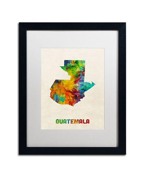 "Trademark Global Michael Tompsett 'Guatemala Watercolor Map' Matted Framed Art - 16"" x 20"""