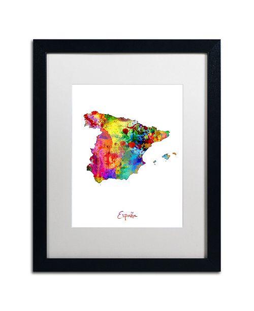 "Trademark Global Michael Tompsett 'Spain Watercolor Map' Matted Framed Art - 16"" x 20"""