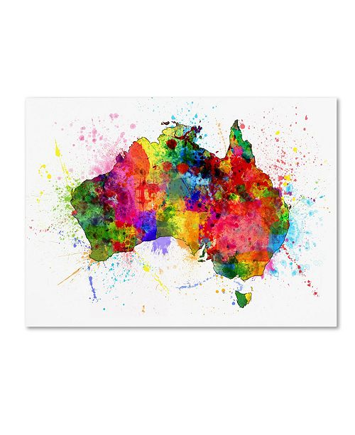 "Trademark Global Michael Tompsett 'Australia Paint Splashes Map' Canvas Art - 18"" x 24"""