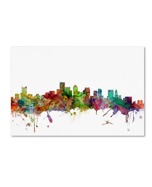 "Trademark Global Michael Tompsett 'Boston Massachusetts Skyline' Canvas Art - 16"" x 24"""