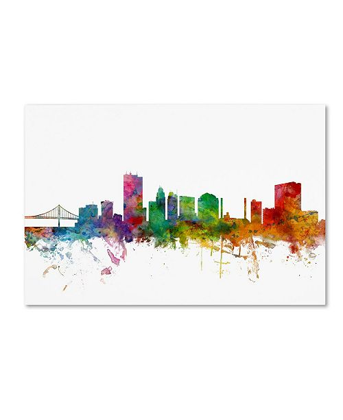 "Trademark Global Michael Tompsett 'Toledo Ohio Skyline' Canvas Art - 16"" x 24"""