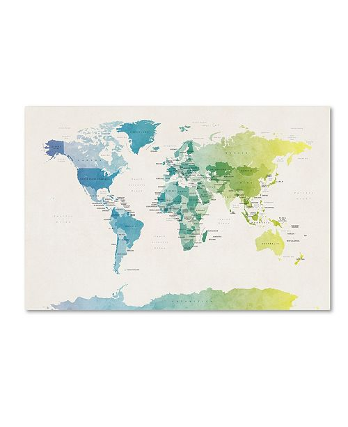 "Trademark Global Michael Tompsett 'Watercolour Political Map of the World 2' Canvas Art - 16"" x 24"""