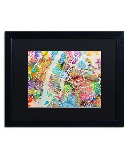 """Trademark Global Michael Tompsett 'New York City Street Map' Matted Framed Art - 16"""" x 20"""""""