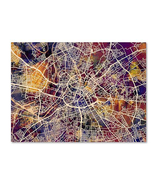 """Trademark Global Michael Tompsett 'Manchester Street Map' Canvas Art - 24"""" x 32"""""""