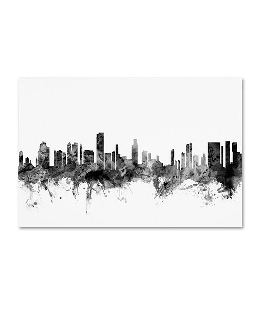 "Trademark Global Michael Tompsett 'Honolulu Hawaii Skyline B&W' Canvas Art - 22"" x 32"""