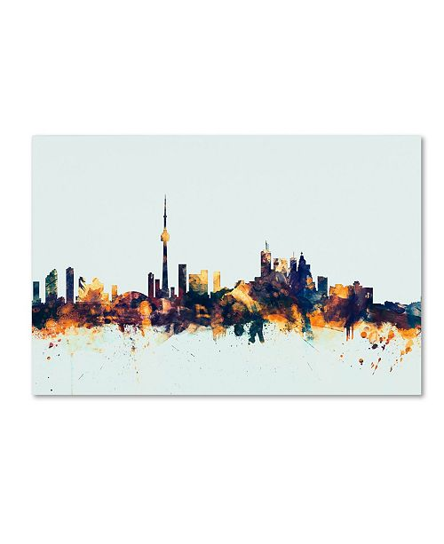 "Trademark Global Michael Tompsett 'Toronto Canada Skyline Blue' Canvas Art - 30"" x 47"""