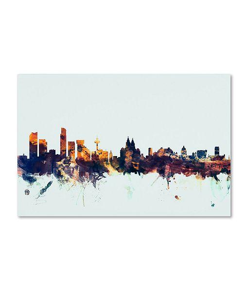 "Trademark Global Michael Tompsett 'Liverpool England Skyline Blue' Canvas Art - 30"" x 47"""