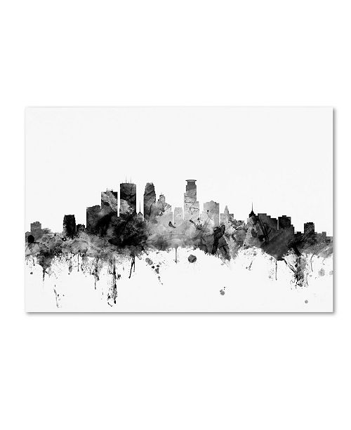 "Trademark Global Michael Tompsett 'Minneapolis MN Skyline B&W' Canvas Art - 30"" x 47"""