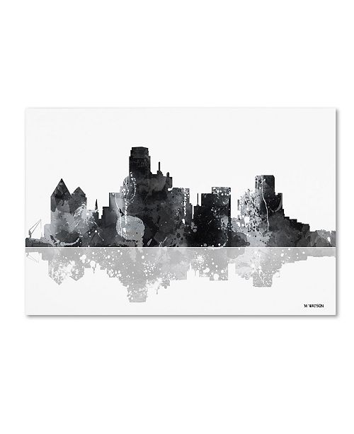 "Trademark Global Marlene Watson 'Dallas Texas Skyline BG-1' Canvas Art - 30"" x 47"""