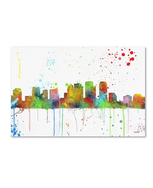 "Trademark Global Marlene Watson 'Tampa Florida Skyline Mclr-1' Canvas Art - 30"" x 47"""